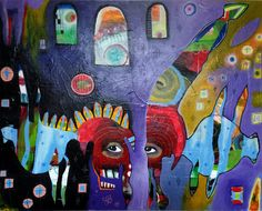 """Acrylic and mixed media on paper. Length: 18"""", Width: 24"""""""