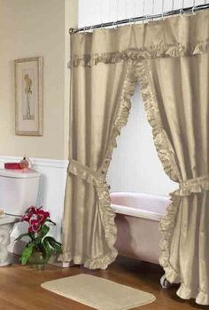 Lauren Dobby Double Swag Shower Curtain