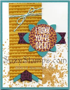 Stampin' Up! Cards - 2015-06 Class - I Think You're Great and Gorgeous Grunge stamp sets, Banner Triple Punch, Kissing Technique