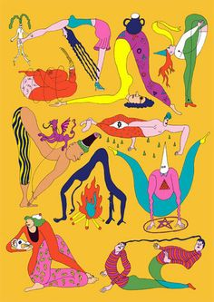 Yoga figures, magic? Illustration, painting, narrative. Artist Wakana Yamazaki