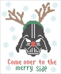 BOGO FREE! Merry Christmas - FUNNY Darth Vader  Star wars Cross Stitch Pattern - pdf pattern instant download  #198 by Rainbowstitchcross on Etsy