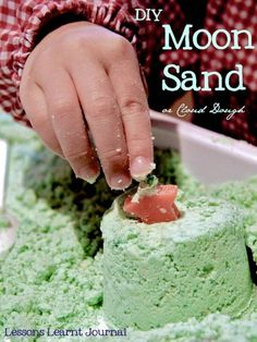 Simple DIY home made moon sand (or cloud dough) using only two simple everyday ingredients.
