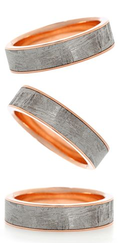 Meteorite and rose gold wedding band by Chris Ploof. Handmade in the USA.