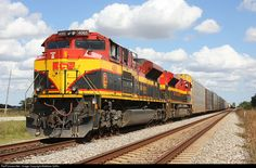 KCSM 4065 is on the point of another southbound train as it awaits a break in MOW activity.