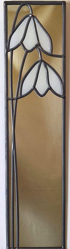 Classic Snowdrop mirror 10x40 from Catfish Glass #StainedGlassMirror