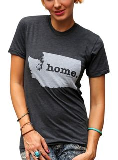 The Home T Womens Washington Home T-Shirt Small Grey