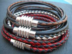 Double Strand Double Wrap MensLeather by UrbanSurvivalGearUSA, $26.99