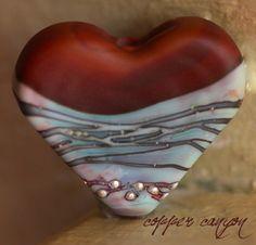 Handmade glass lampwork bead Copper Canyon Heart   beadsandbotanicals - Awesomely nEw on ArtFire