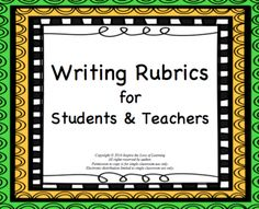 Writing Rubrics for Students and Teachers from Inspire the Love of Learning on TeachersNotebook.com -  (10 pages)  - Included in this resource are rubric templates for both the whole class and for individual students.  There is also a student checklist provided to help students!