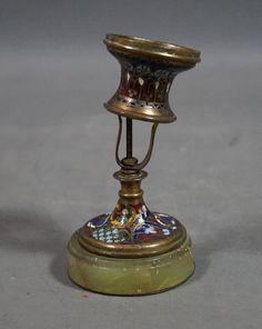 Antiker Kerzenleuchter Leuchter Messing mit Onyx aus RUSSLAND 18. Jhdt.