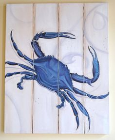 Coastal Living Distressed Annapolis Nautical Chesapeake Bay Blue Crab Giclee Print on Canvas Coastal Art, Coastal Cottage, Coastal Living, Coastal Bedrooms, Crab Decor, Crab Art, Deco Marine, Crab Shack, Pallet Art
