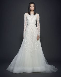 Lazaro Beaded A-Line Gown - long sleeve wedding dress Lazaro Wedding Dress, Lazaro Bridal, Wedding Dress Sleeves, Long Sleeve Wedding, Wedding Gowns, 2017 Wedding, Dream Wedding, Perfect Wedding, A Line Bridal Gowns