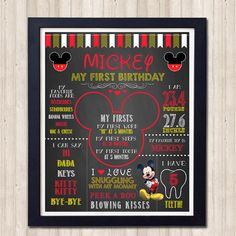 Mickey Mouse Birthday Chalkboard Pink 1st by TheOwlProphecy