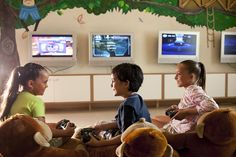 The Kids Club features an area for videos that includes a Home Theater and X-Box. Home Theater, Playroom, Teen, Club, Videos, Decor Ideas, Box, Home Theatre, Home Theaters