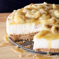 This creamy no-bake cheesecake is topped with bananas caramelized in rum — a decadent and delicious dessert!