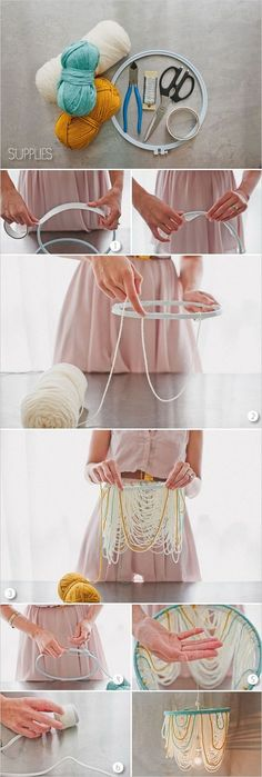 DIY Yarn Chandelier: Simply to put together this stylish yarn chandelier and add a touch of homemade warm to your home decor.