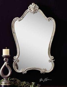 Walton Hall Antique White Rectangle Mirror