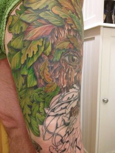 Session 14, 09/08/14, Greenman Tattoo, all day session, inner thigh leaves completed, by Craig Smith, Skin Graphics, Lowestoft, UK