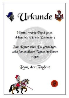 Urkunde Für Ritterparty / Mittelalterparty   Urkunde Für Ritter / Burdame  Ideal Als Belohnung Für Spiele