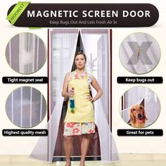 White Magnetic Screen Door,Heavy Duty Mesh Screen & Full Frame Velcro-Keep Bugs Out,Let Fresh Air In.Screen Door Mesh Is Bulit Tough,Close Automaticlly.Fits Door Openings Up To Max. Mesh Screen Door, Magnetic Screen Door, Magnetic Curtain, Screen Doors, Instant Screen Door, Screen Size, Animals For Kids, Magnets