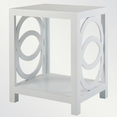 "Oslo Side Table    dimensions  29"" high x 20"" deep x 24"" wide  also available in 10 lacquer colors"