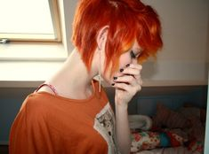 BRIGHT orange short hair!