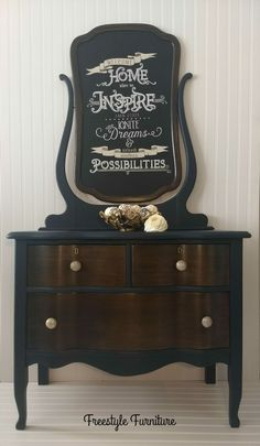 Freestyle Furniture. Dixie Belle Bunker Hill mixed with Black. Two toned entryway piece dresser