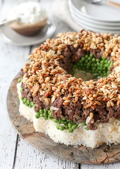 Syrian rice and peas cake