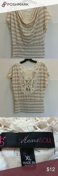 """Heart & Soul Top Beautiful drape front & lace back cream & beige striped top.  Poly rayon blend, feels like a lightweight knit.  Gits like a med/large.  See measurements b4 purchasing. Waist is 16"""" armpit to armpit is 21"""" Shoulder to hem is 25"""" HeartSoul Tops"""