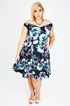Black, Purple & Turquoise Rose Print Bardot Skater Dress