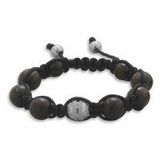 Macrame Bracelet with Diamond Cut Sterling Silver and Dark Brown Wood Beads Adjustable AzureBella Jewelry. $28.85. Diamond cut sterling silver bead; Jewelry gift box included; Dark wooden beads; Adjustable