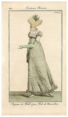 Gingham day dress and straw bonnet, French, 1812.
