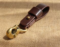 Handcrafted 'Beaked Hook' Leather Belt Loop Key or Wallet Chain Holder with Solid Brass sprung hook - Brown