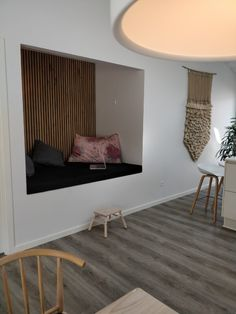 create an elegant slat wall or slat ceiling Wood Slat Wall, Wood Slats, Wooden Walls, Wooden Sliding Doors, Wood Headboard, Acoustic Panels, Modern Furniture, Decoration, Interior Decorating