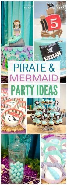 "Pirate & Mermaid - Under the Sea / Birthday ""Ethan & Sophia's Pirate & Mermaid… Twin Birthday Themes, Combined Birthday Parties, Joint Birthday Parties, Party Themes For Boys, Girl Themes, Pirate Birthday, Birthday Fun, Birthday Ideas, Pirate Theme"