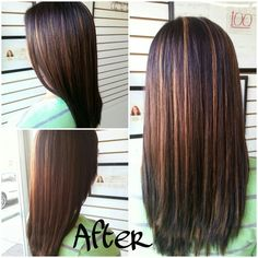 Hair color : dark brown/blk hair to dark drown/blk with caramel highlights & red/mahogany lowlights, pretty fall color.
