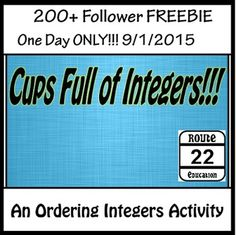 All you need is 6 Styrofoam cups, 1 permanent marker, and the activity sheet for this deceptively challenging ordering integers task. It is a great station activity that will engage students. Students will be required to stack the cups based on the integers in columns on the cups.