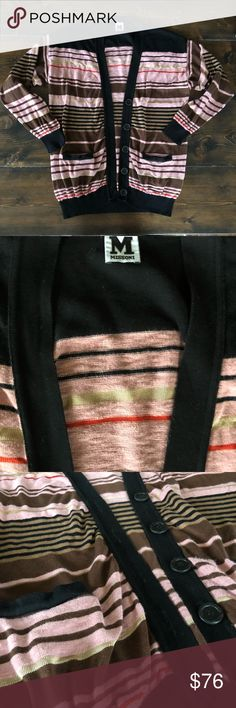 M Missoni Cardigan Comfy stylish cardigan in stripes of black, pink, camel, gold and red. Great addition to your closet! Size is medium. M by Missoni Sweaters Cardigans