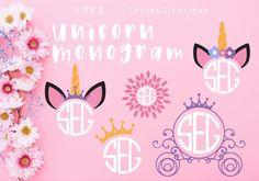 Unicorn Monogram Free SVG