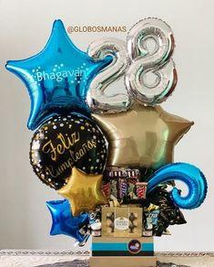 Balloon Box, Balloon Stands, Balloon Display, Candy Bouquet Diy, Gift Bouquet, Happy Birthday Decor, Birthday Diy, Candy Gift Baskets, Candy Gifts