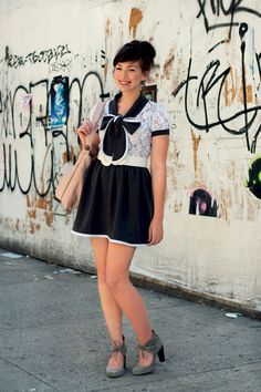 Keiko Lynn  Fashion Designer/Blogger  http://www.keikolynn.com  http://www.postlapsaria.com  -Postlapsaria Dress (made one for herself)  -Jeffrey Campbell Shoes  -Jenny N. Design Bag  -Belt purchased at thrift shop
