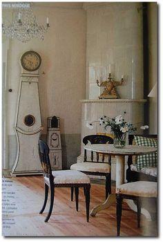 Yes, someone really lives like this!  Ahhh!   Furniture, Scandinavian Design, Nordic Style, Swedish Furniture, Swedish Decorating, Mora Clocks by DavideB