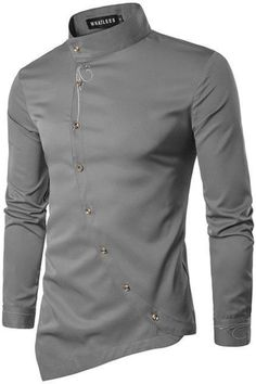 Irregular Side Button Long Sleeve Shirt