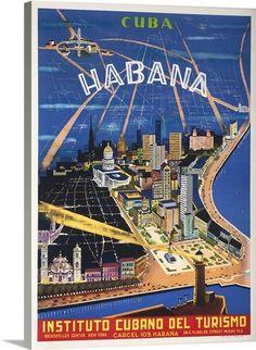 Habana City Cuba Caribbean Island Instituto Vintage Travel Advertisement Poster in Collectibles, Souvenirs & Travel Memorabilia, International, Caribbean Islands Vintage Cuba, Pub Vintage, Vintage Art, Vintage Style, Rockefeller Center, Cuban Culture, Cuban Art, Cuba Travel, Cuba Tourism