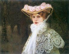 Portrait of the Artist's Wife   -  Edward Okun  1907.  Polish painter  1872-1945.  Cozyhuarique