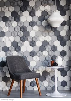 These are probably super expensive, but they are GORGEOUS. - 'Edgy' concrete tiles I KAZA Concrete 3d Wall Art, Geometric Wall Art, Panneau Mural 3d, Leather Wall, Pu Leather, Sound Absorbing, 3d Wall Panels, Concrete Tiles, Sound Proofing