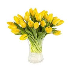 30 Yellow Tulips with Vase ❤ liked on Polyvore featuring home, home decor, yellow home accessories and yellow home decor