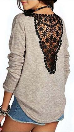 Stylish Round Collar Lace Splicing Long Sleeve T-Shirt For Women - New In Tops Look Fashion, Diy Fashion, Autumn Fashion, Fashion Outfits, Womens Fashion, Diy Clothing, Sewing Clothes, Techniques Couture, Sammy Dress