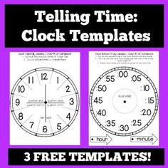 Telling Time: Telling Time Clock Templates and Foldables! This packet contains templates for 3 differentiated student foldable clocks! 1- fully labeled, 1-partially labeled, and 1-blank clock template with complete directions and a photograph of a finished foldable clock!