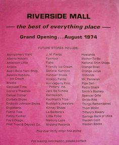 Riverside Mall August 1974 Utica New York, Friendly's Ice Cream, Hickory Farms, Orange Julius, Orange Bowl, Baskin Robbins, Montgomery Ward, Yarn Shop, Historical Society
